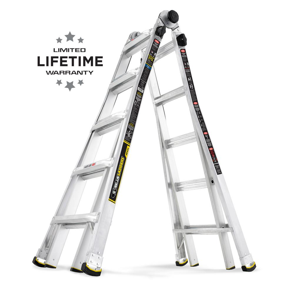 gorilla ladders 22 ft reach mpx aluminum multi position ladder with