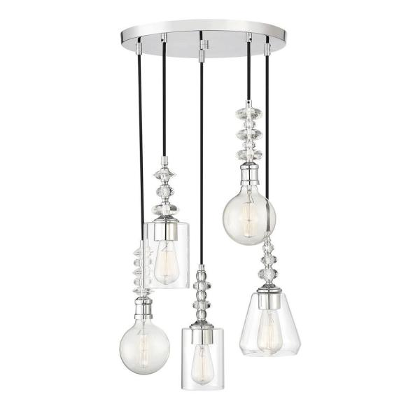 5-Light Polished Chrome Chandelier with Clear Glass