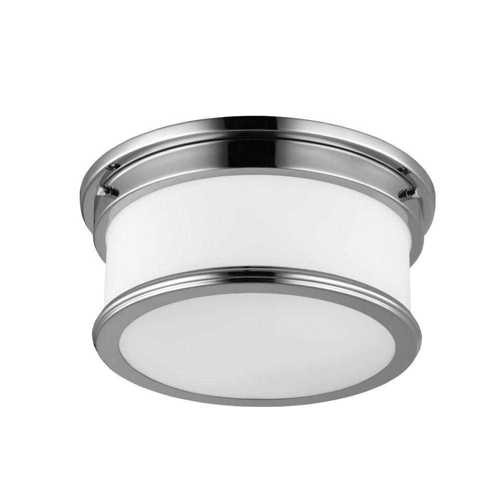 Feiss Payne 2-Light Polished Nickel Flushmount