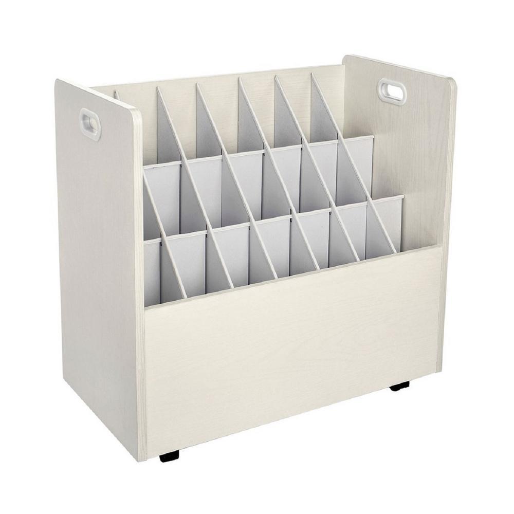 AdirOffice 21-Slot White Mobile Rolling Wood Blueprint Roll File Large Document