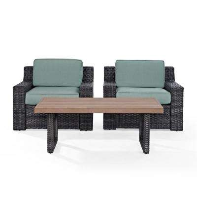 Beaufort 3-Piece Wicker Patio Outdoor Seating Set with Mist Cushion - 2 Wicker Outdoor Chairs, Coffee Table