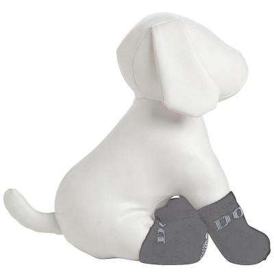 Large Blue and White Dog Socks with Rubberized Soles (Set of 4)