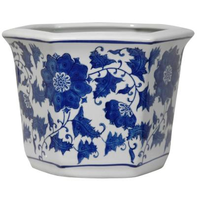 Oriental Furniture 10 in. Floral Blue and White Porcelain Flower Pot