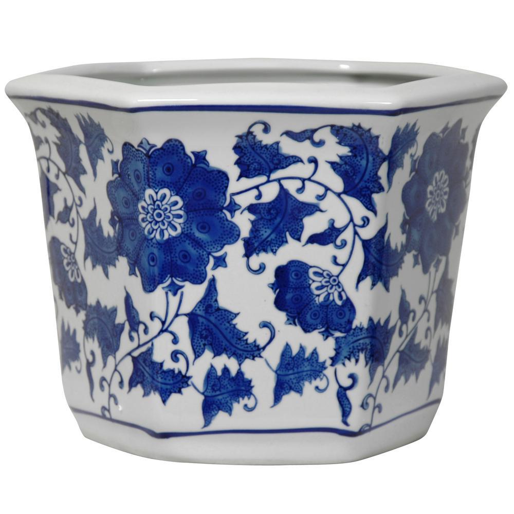 Oriental Furniture 10 In Fl Blue And White Porcelain Flower Pot