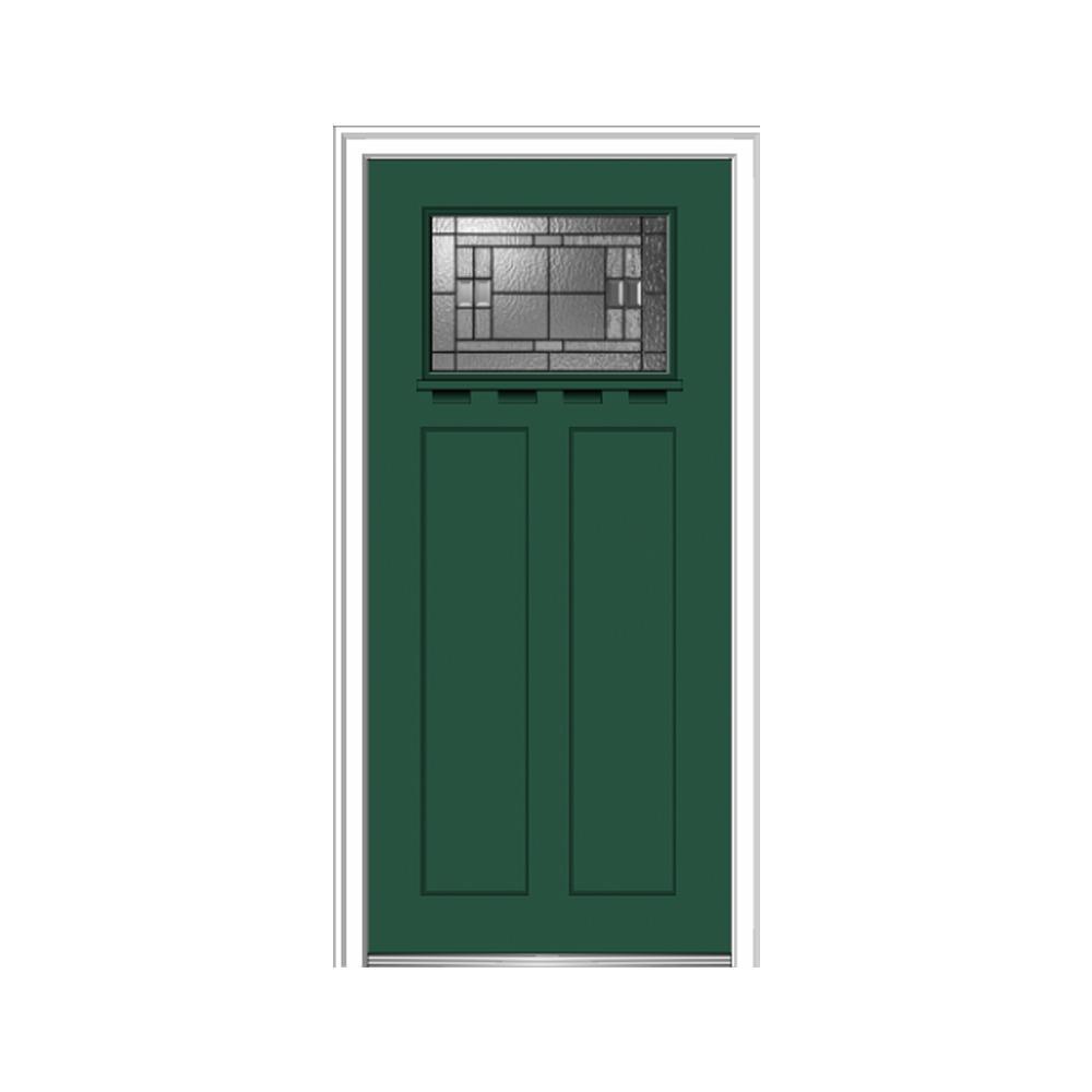 36 in. x 80 in. Roman Glass Left-Hand Craftsman 2-Panel 1-Lite Painted Fiberglass Smooth Prehung Front Door with Shelf
