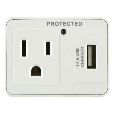 1-Outlet 1 USB Port Surge Protector Tap