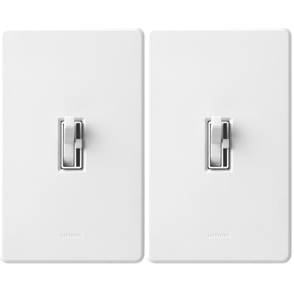 Toggler C L Dimmer Switch For Dimmable Led Halogen Incandescent Bulbs With Wallplate Single Pole 3 Way White 2 Pack