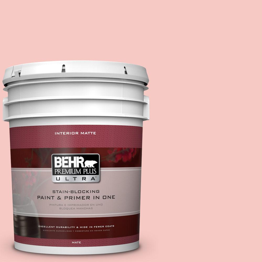 5 gal. #160C-2 Flush Pink Matte Interior Paint and Primer in
