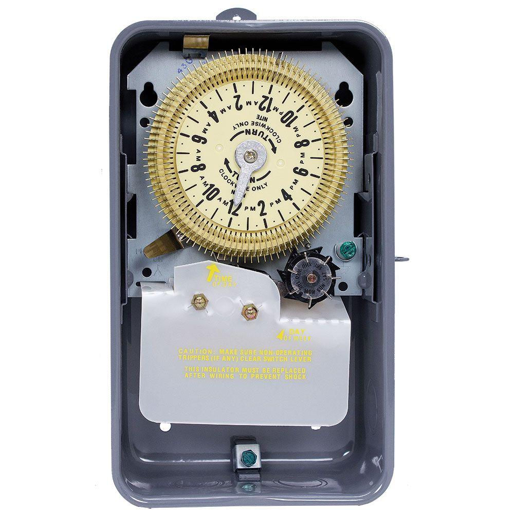 Intermatic T1970 Series 20 Amp 24-Hour Mechanical Time Switch with Skipper and Indoor Enclosure - Gray