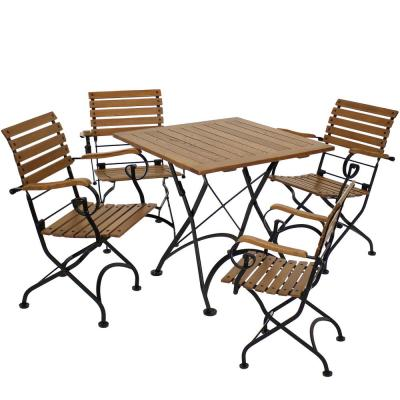 Deluxe European Chestnut 5-Piece Wood Folding Outdoor Dining Set