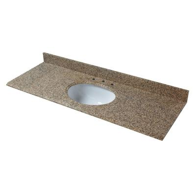 61 in. Granite Vanity Top in Montesol with White Basin