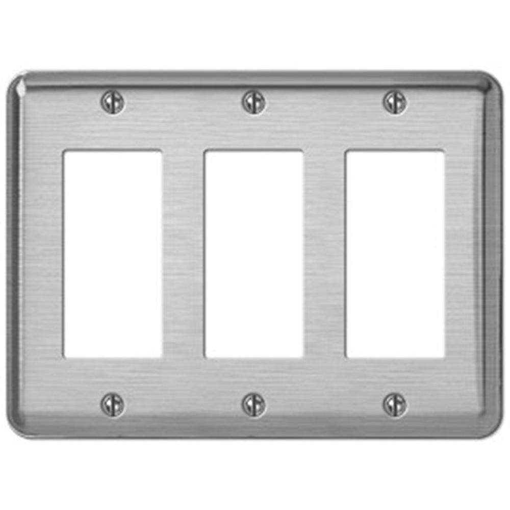 Creative Accents Steel 3 Decorator Wall Plate - Brushed Chrome-DISCONTINUED