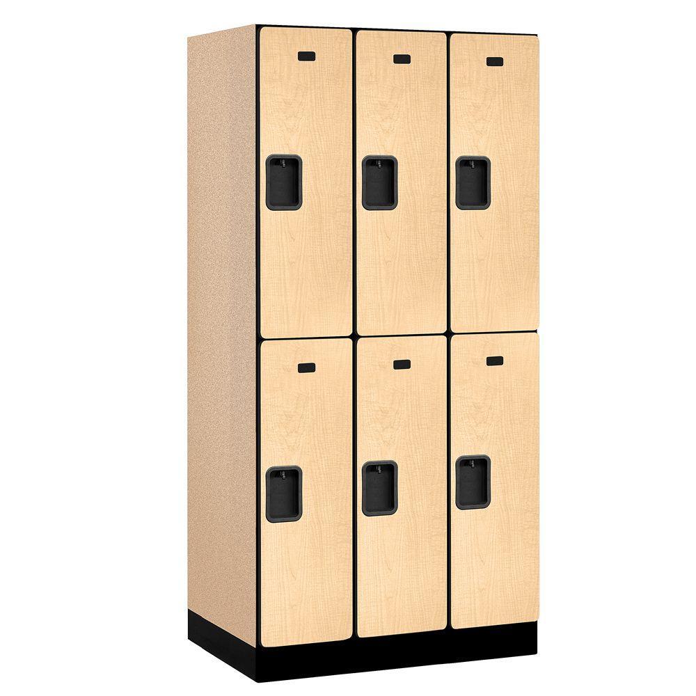 32000 Series 36 in. W x 76 in. H x 21 in. D 2-Tier Designer Wood Locker in Cherry