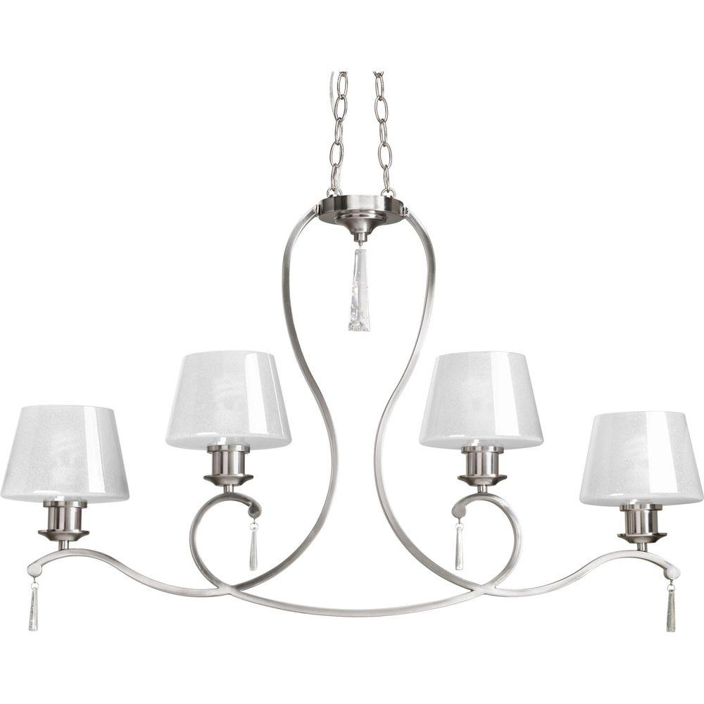 Dazzle Collection 4-Light Brushed Nickel Chandelier with Shade with Ice Glass