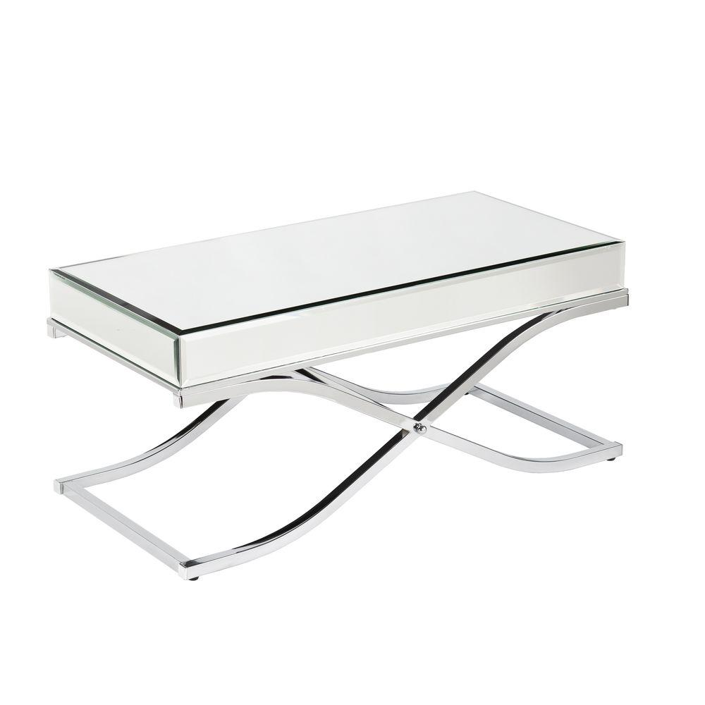 Southern Enterprises Alice Mirrored Chrome Coffee Table