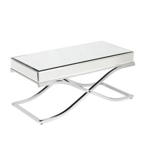 Southern Enterprises Alice Mirrored Chrome Coffee Table Hd864976 The Home Depot