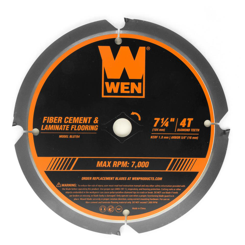 WEN 7-1/4 in. 4-Tooth Diamond-Tipped (PCD) Professional Circular Saw Blade for Fiber Cement and Laminate Flooring