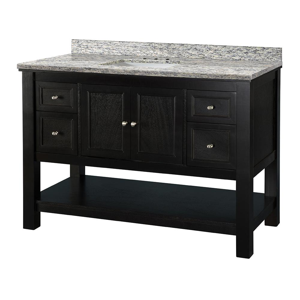 Home Decorators Collection Gazette 49 in. W x 22 in. D Vanity in Espresso with Granite Vanity Top in Santa Cecilia with White Sink