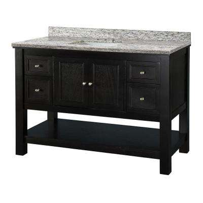 Gazette 49 in. W x 22 in. D Vanity in Espresso with Granite Vanity Top in Santa Cecilia with White Sink
