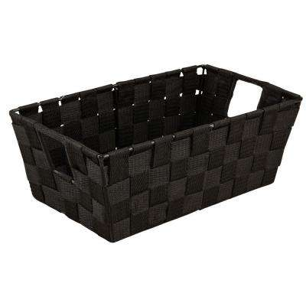 8 in. x 12 in. Small Woven Strap Shelf Tote Bin in Black