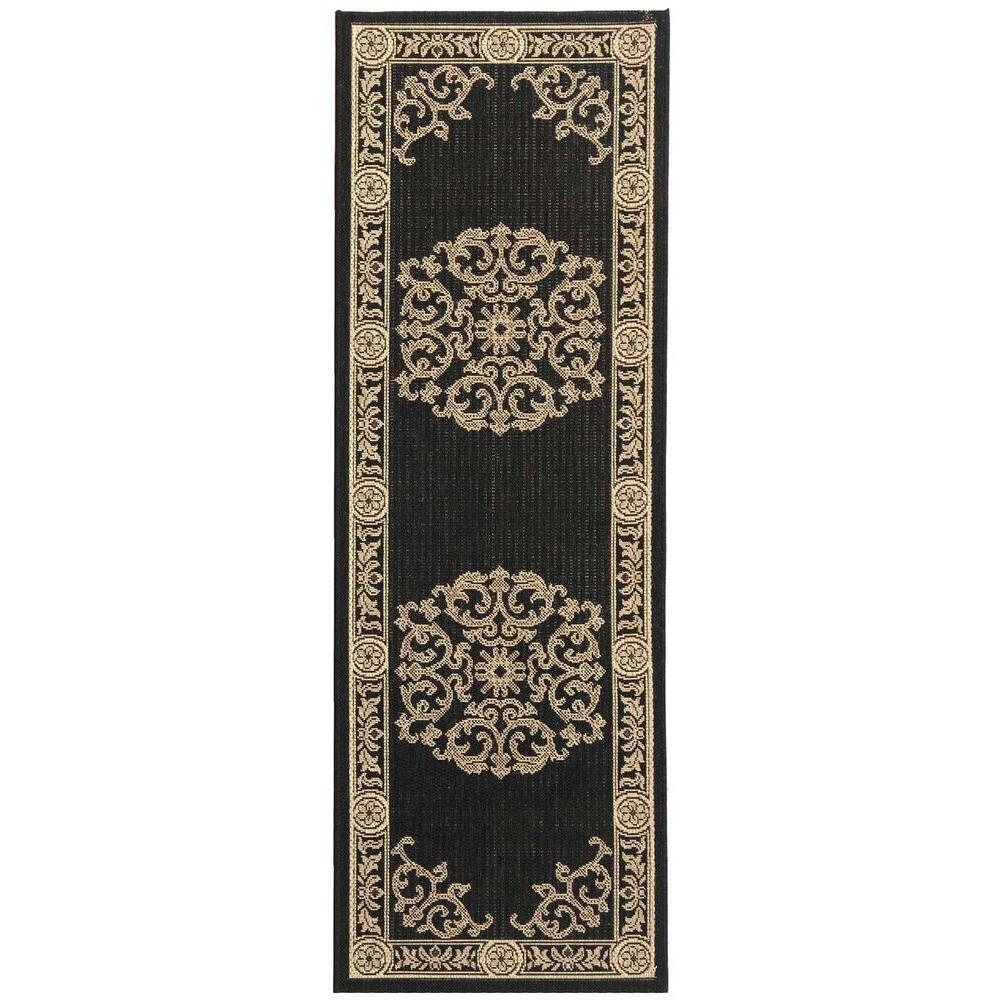 Safavieh Courtyard Black/Sand 2 ft. x 14 ft. Indoor/Outdoor Runner Rug