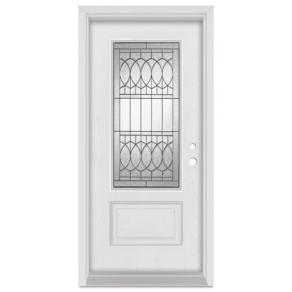 Stanley Doors 33.375 in. x 83 in. Nightingale Left-Hand Patina Finished Fiberglass Mahogany Woodgrain Prehung Front Door Brickmould