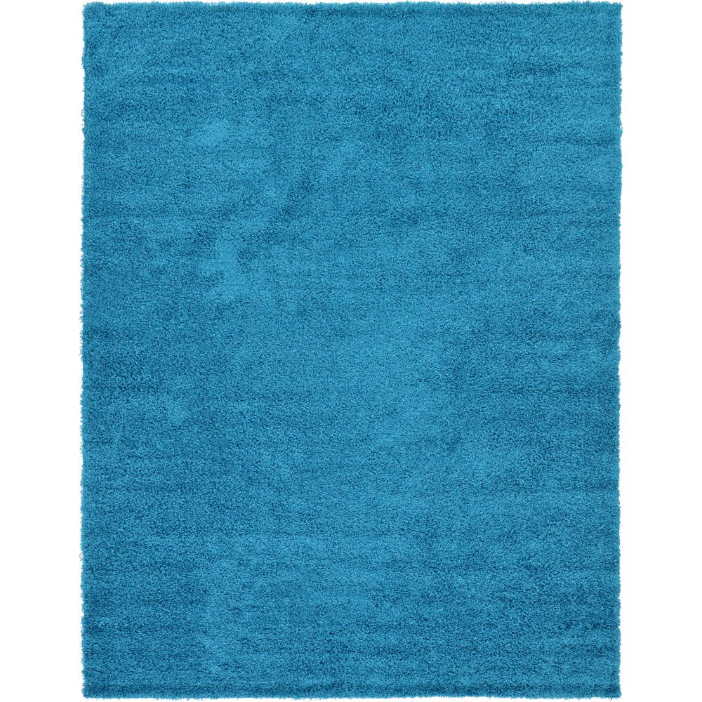 Unique Loom Solid Shag Turquoise 9 Ft. X 12 Ft. Area Rug