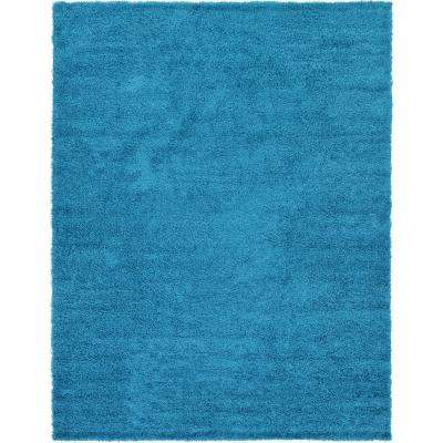 Solid Shag Turquoise 9 ft. x 12 ft. Area Rug