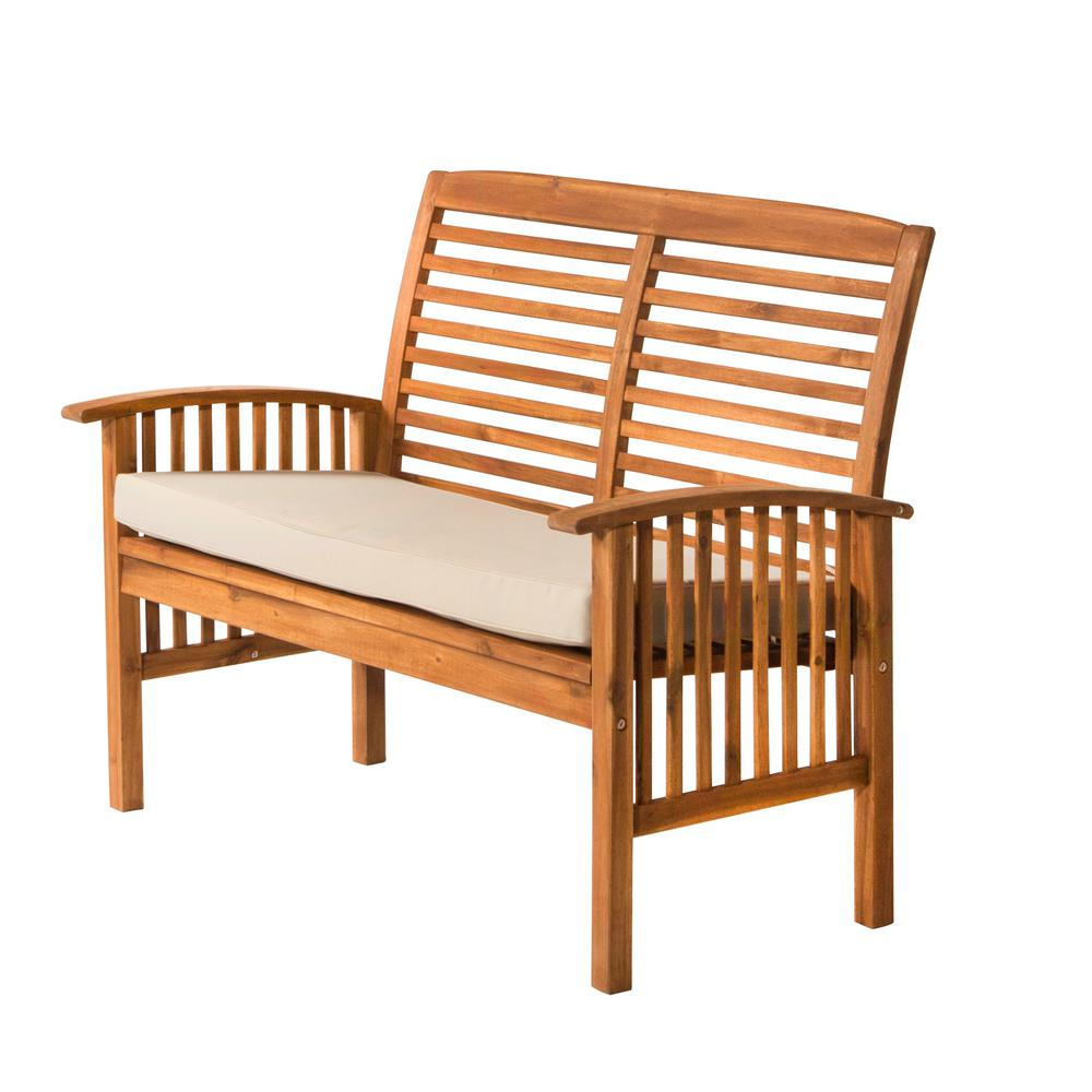 Walker Edison Furniture Company Boardwalk 48 in  Brown Acacia Wood Outdoor  Loveseat Bench with White. Walker Edison Furniture Company Boardwalk 48 in  Brown Acacia Wood