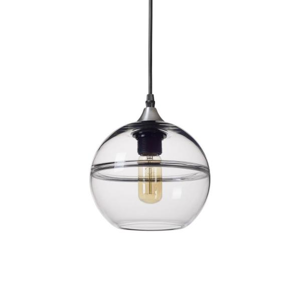 7 in. H 1-Light Unique Optic Contemporary Silver ''DoubleEyelid'' Hand Blown Glass Pendant with Clear Glass Shade