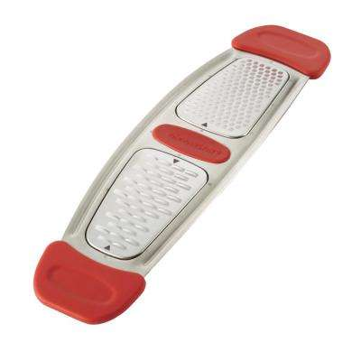 Red Stainless Steel Multi-Grater with Silicone Handles