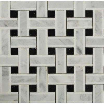 Yarn Threaded Onyx 12-1/2 in. x 12-1/2 in. x 10 mm Polished Marble Mosaic Tile