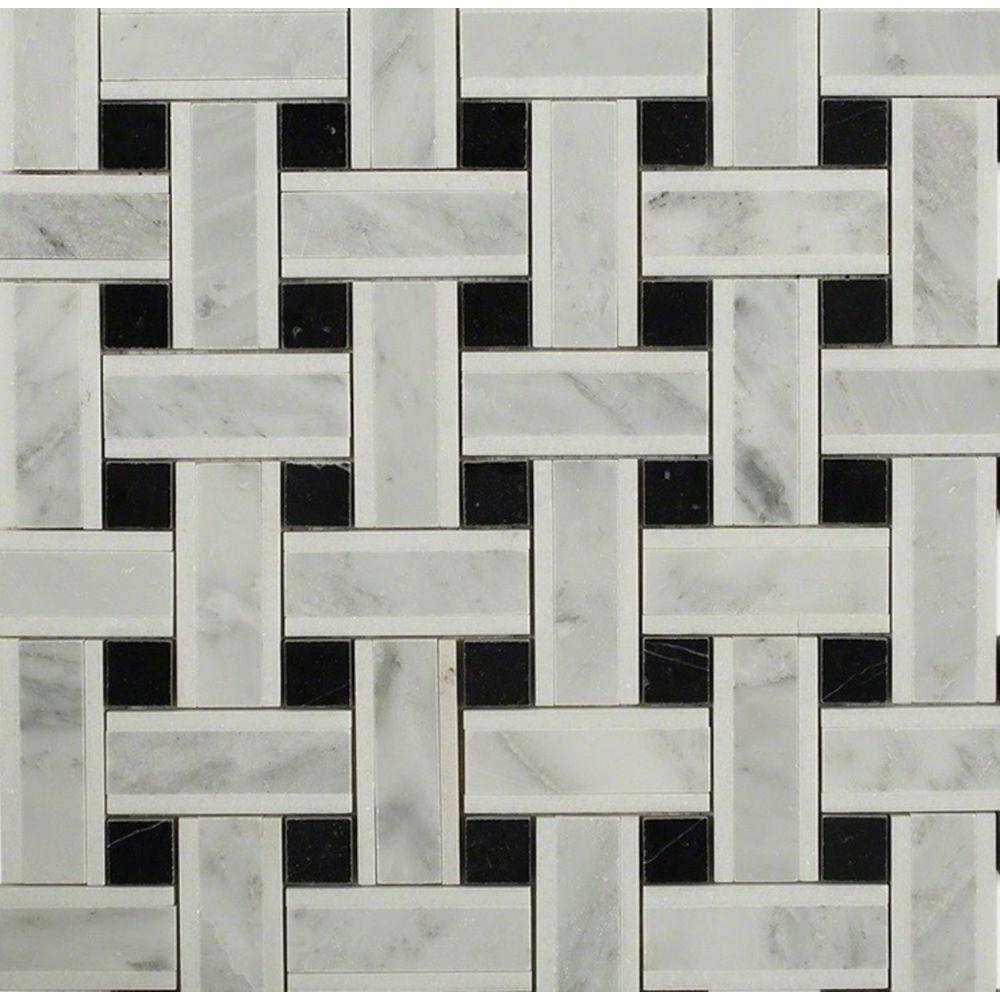 Splashback Tile Yarn Threaded Onyx Polished Marble Tile - 3 in. x 6 ...