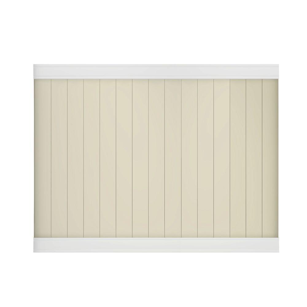 Pro-Series 6 ft. H x 8 ft. W White/Tan Vinyl Woodbridge Privacy Unassembled Fence Panel