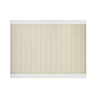 Pro-Series 6 ft. H x 8 ft. W White/Tan Vinyl Woodbridge Privacy Unassembled Fence Panel