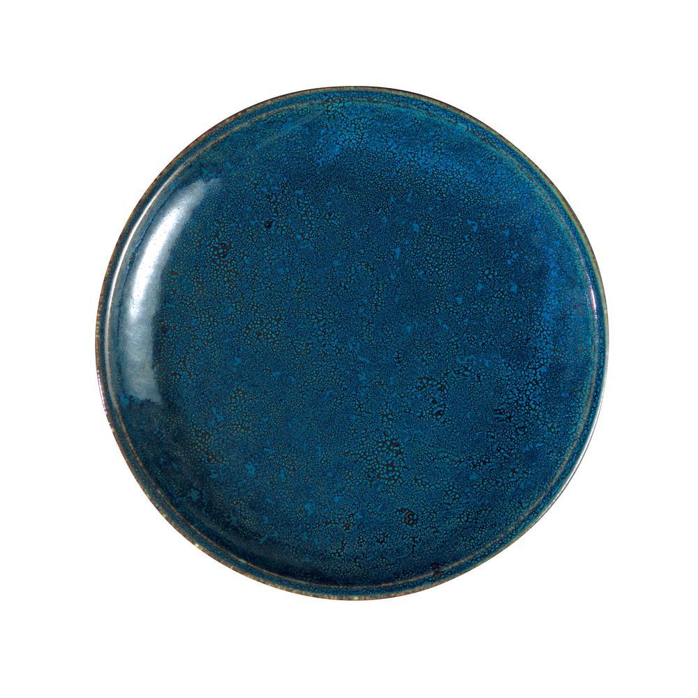10.625 in. Blue Moss Porcelain Plates (Set of 12)
