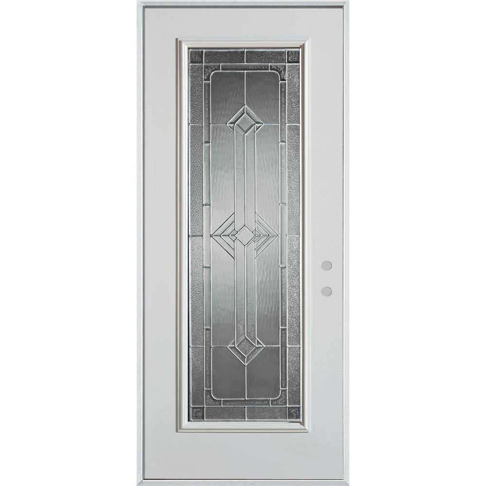 32 in. x 80 in. Neo-Deco Zinc Full Lite Painted White