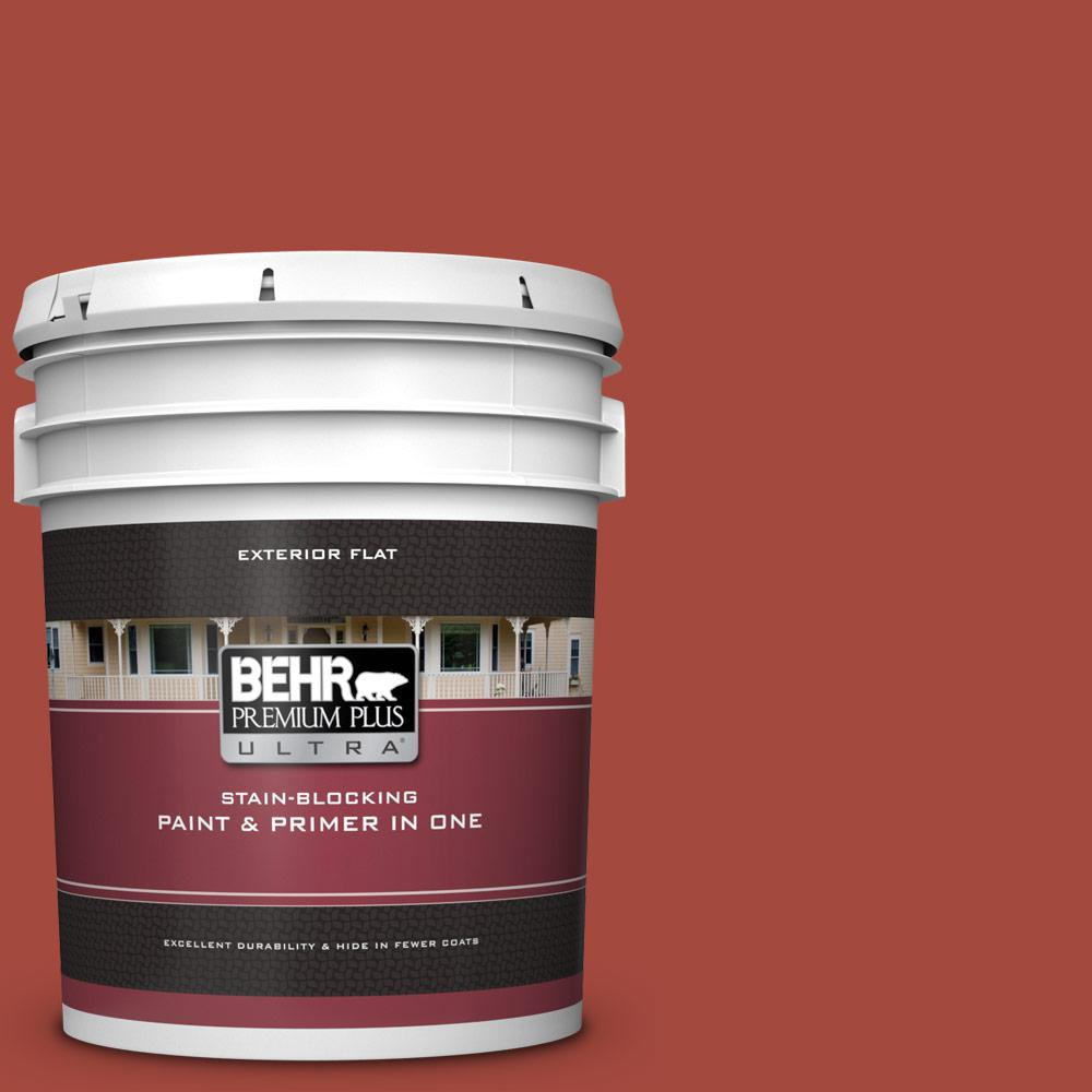 BEHR Premium Plus Ultra 5 gal  #170D-7 Farmhouse Red Flat Exterior Paint  and Primer in One
