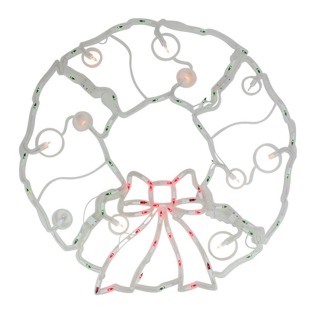 31.5 in. Folding Lighted Twinkling Wreath Christmas Window Decoration - Multi Lights