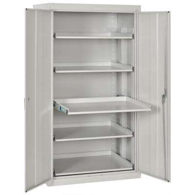 66 in. H x 36 in. W x 24 in. D 5-Shelf Heavy Duty Steel Freestanding Storage Cabinet with Pull-Out Tray in Dove Gray