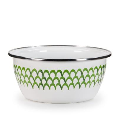 Green Scallop 3-cup Enamelware Salad Bowl Set of 4