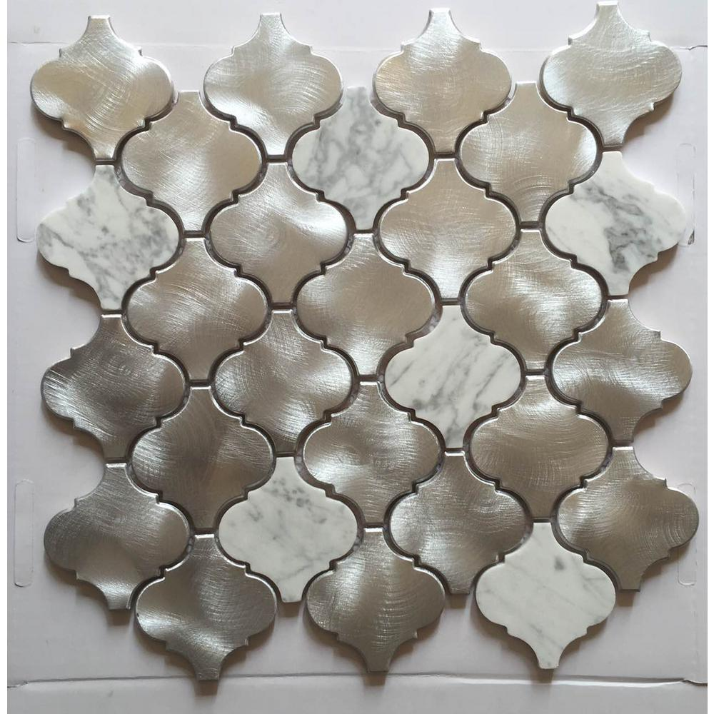 Silver tin backsplash tiles