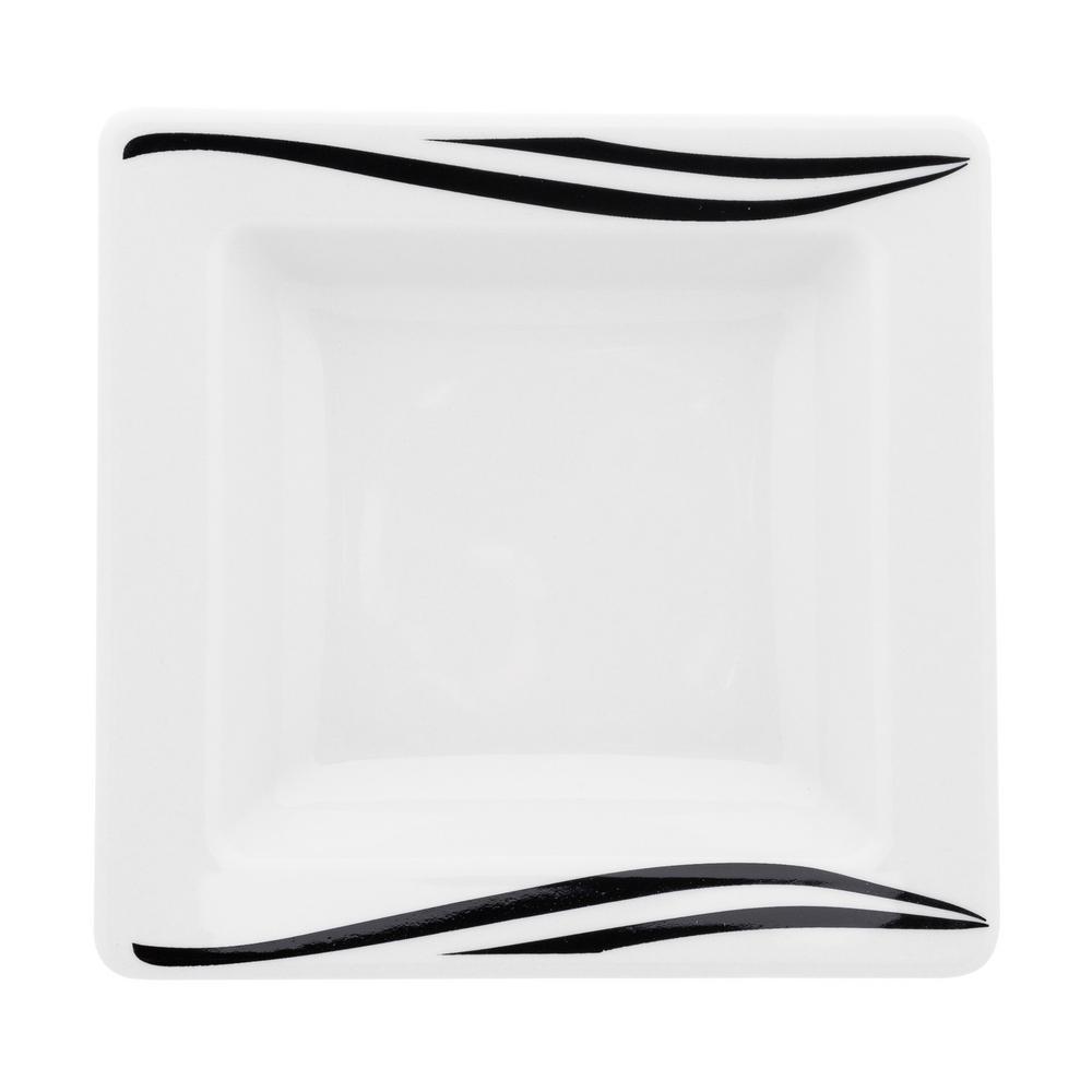 Manhattan Comfort Nara 15 fl. oz. Black and Ivory 8.26 in. Porcelain Square Bowl (Set of 12) was $169.99 now $102.45 (40.0% off)