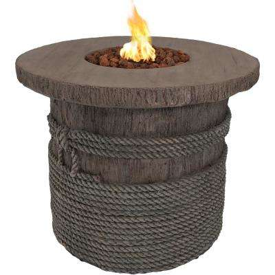 29 in. Round Fiberglass Rope and Barrel Propane Gas Fire Pit Table with Lava Rocks
