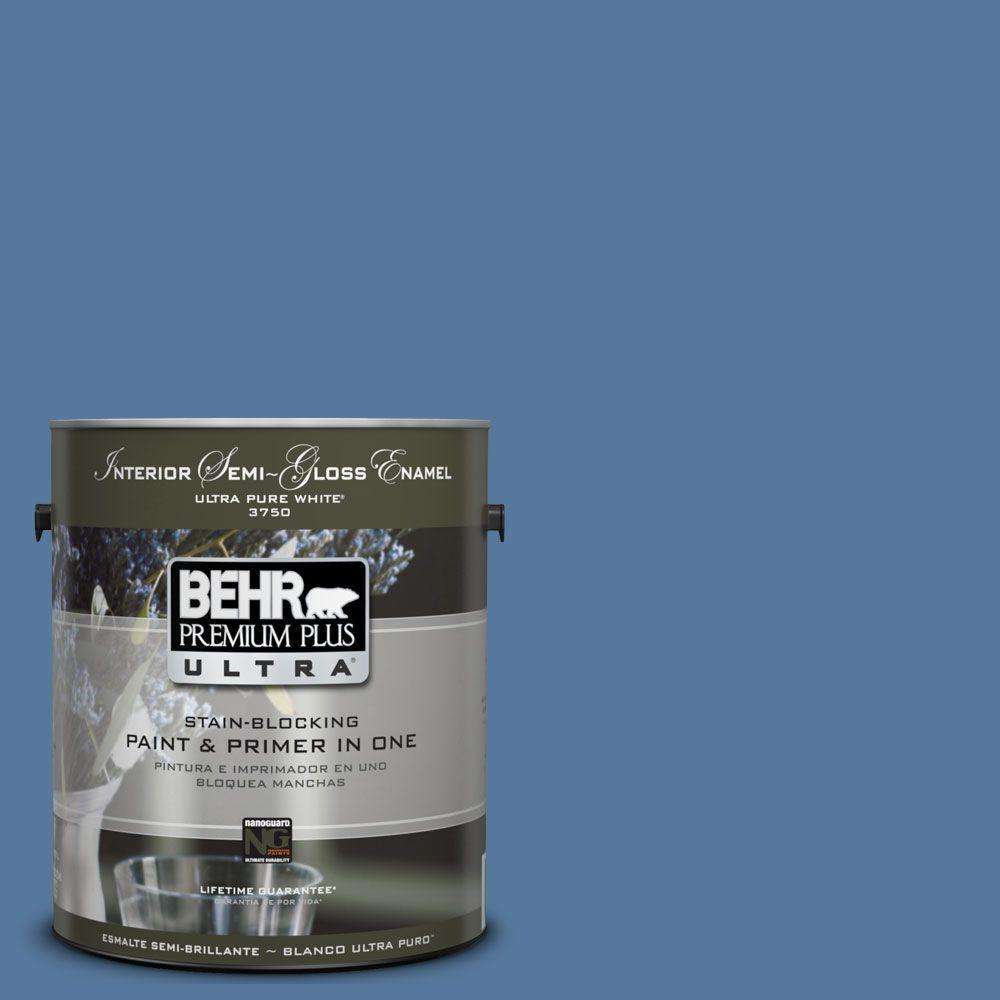 BEHR Premium Plus Ultra 1-gal. #UL230-4 Glass Sapphire Interior Semi-Gloss Enamel Paint