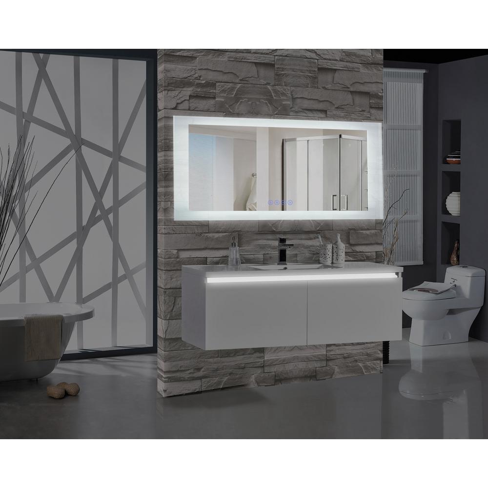 Encore BLU103 70 in. W x 27 in. H Rectangular LED Illuminated Bathroom Mirror with Bluetooth Audio Speakers