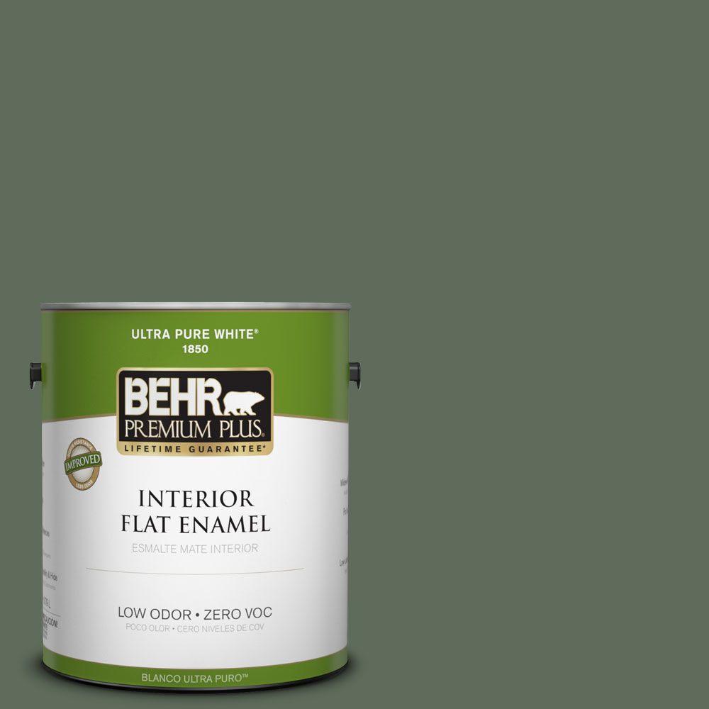 BEHR Premium Plus 1-gal. #450F-6 Whispering Pine Zero VOC Flat Enamel Interior Paint-DISCONTINUED
