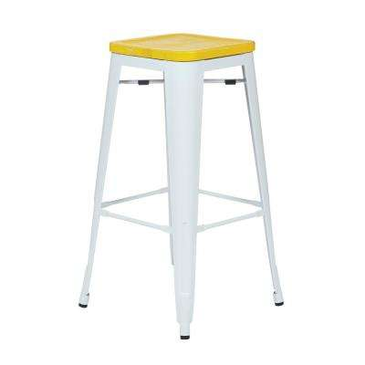 Bristow White 30 in. Metal Barstool with Vintage Wood Seat