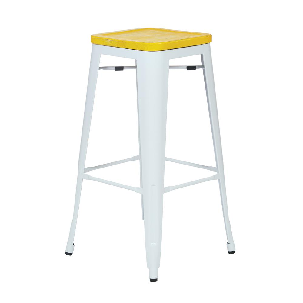 Bristow White 30 in. Metal Barstool with Vintage Wood Sea...