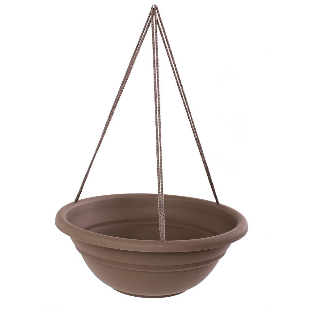 Milano 17 in. Chocolate Plastic Hanging Basket